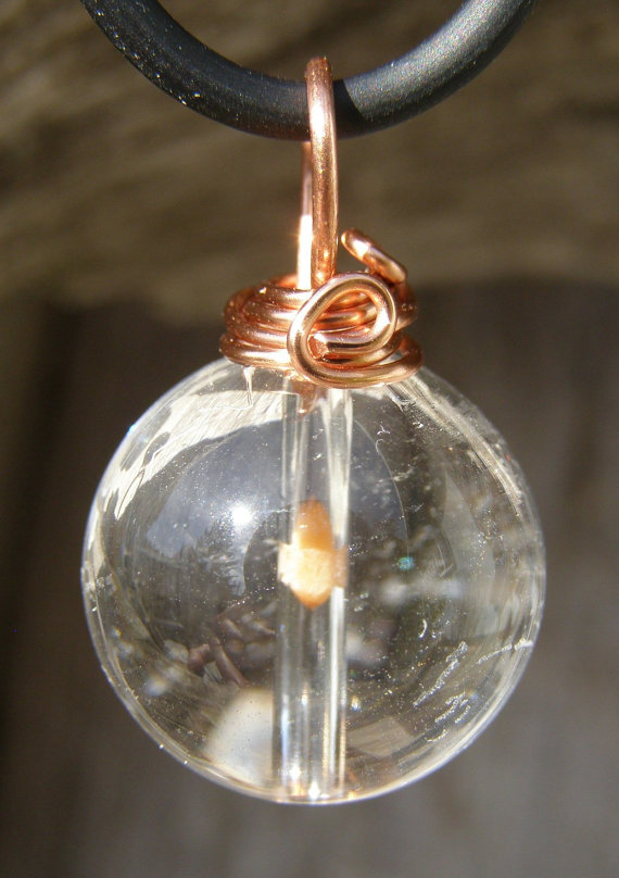Mustard Seed Pendant, in Mini Crystal Ball, on Cord by patulskicollectibles