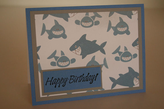 Children's Birthday Card- Sharks by artbybarri