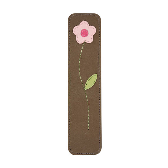 Mally Designs Leather Daisy Bookmark, Pink and Green Daisy Flower on Chocolate Brown by MallyDesigns