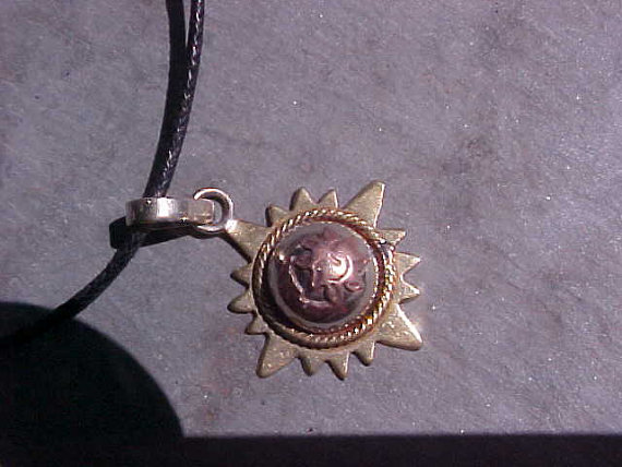 VINTAGE Tibetan Healing 3 Metal SUN and MOON celestial pendant by FTRKAM
