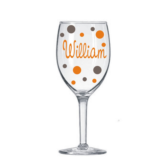 20 Name Decals for DIY Wine Glass kit * Great for Weddings Parties GNO * Vinyl Lettering Names and Polka Dots * DIY Project * Save Money * by MUTShop