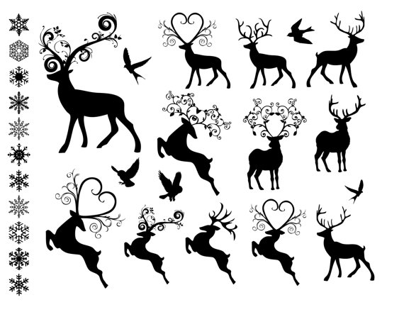 Fancy Reindeer Clip Art Digital Collage Printable 28 Holiday PNG images INSTANT DOWNLOAD by jellybeanlab