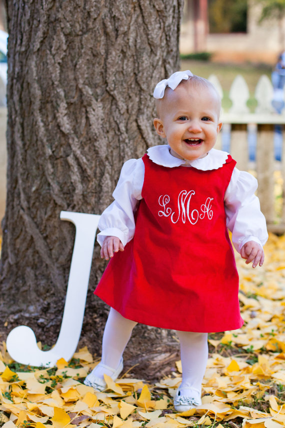 Girls Monogrammed Red Corduroy Jumper Dress – Perfect for Christmas by InletKids