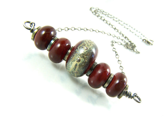 Dark Red Necklace. Lampwork Jewelry. Sterling Silver. Red Jewelry. Lampwork Necklace. Valentine's Day by WillowCreekJewelry