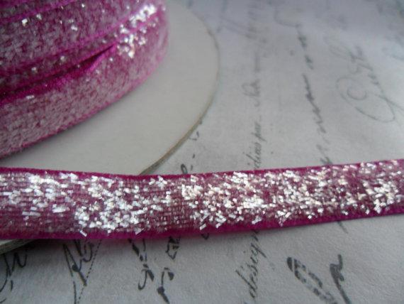 Sugared Raspberry Metallic Velvet Ribbon 3/8 wide by TinTiaraTrims