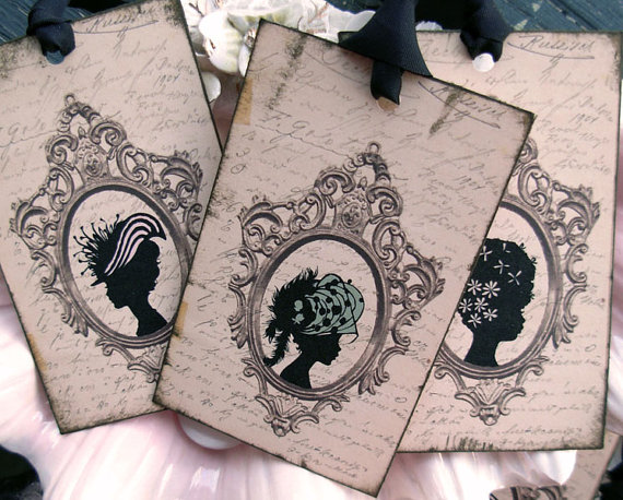 Ladies of Fashion Silhouettes Cottage Style Digitally Collaged Gift Tags by thisgoodday