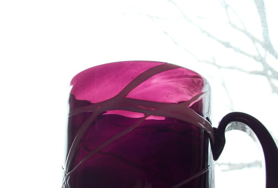Antique blown glass mug stein amethyst glass white overlay must see late 1800s by MattiesMenagerie