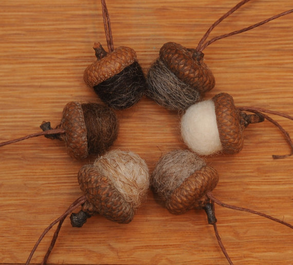Felted Wool Acorns or Acorn Ornaments, Natural colors by StoneHouseCrafts