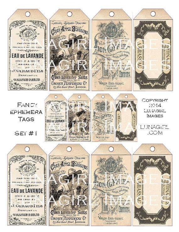 FANCY EPHEMERA TAGS digital collage sheet Download shabby vintage printables blank pharmacy labels flowers images Victorian art cards frames by Lunagirl
