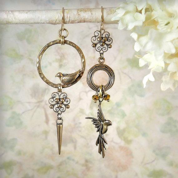 Sanctuary – Asymmetrical Bird Earrings Natural Solid Bronze Bird Lovers Jewelry Bohemian Boho Garden Wedding Bird Watchers Gift for Gardener by MiaMontgomery