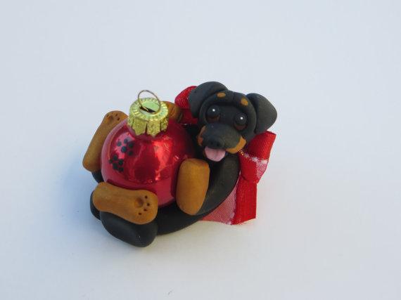 Miniature Pinscher Doberman dog Christmas Ornament Figurine Polymer Clay by HeartOfClayGirl