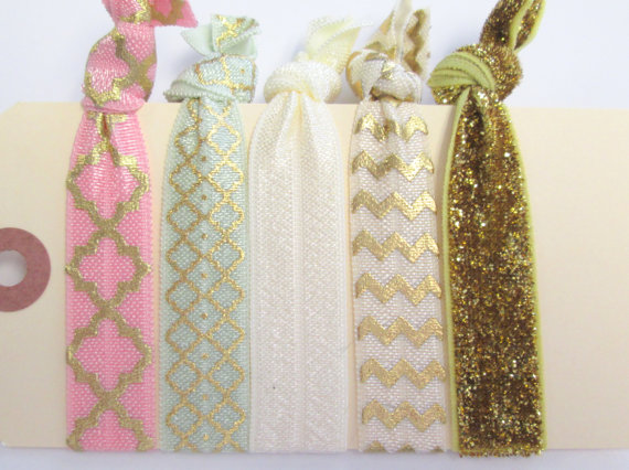 Elastic hair ties glitter, chevron, quatrefoil gold, pink and green hair accessories set of 5 by gillionmillion