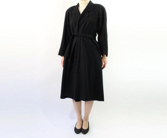 VINTAGE Black Wrap Coat Belted Wool Medium by WearitWellvintage