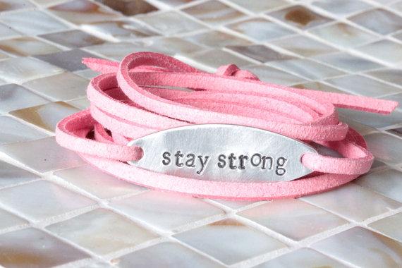 stay strong, Inspirational Bracelet, Wrap Bracelet, Hand Stamped Jewelry, Hand Stamped Bracelet, Breast Cancer Awareness, Motivational by jessejanes