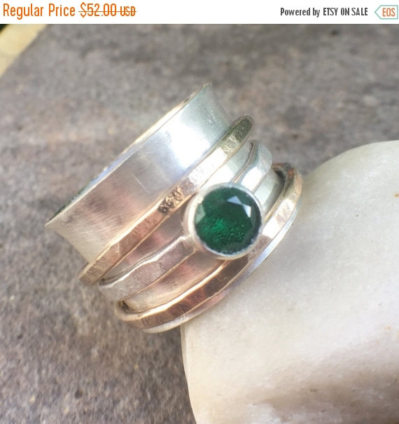 20% OFF – Sterling Silver Emerald Gold Fillled Spinner Ring – twochickstoo spin ring women's spinning ring spinning ring Size 8 women's ring by twochickstoo