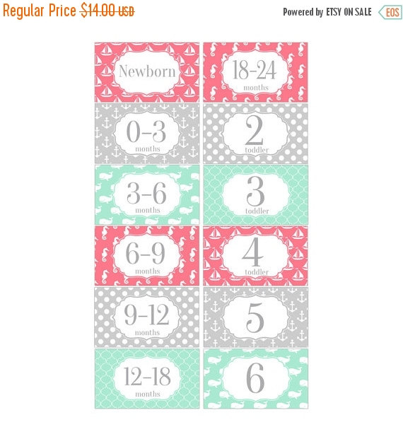 Holidays Sale Rectangle Closet Clothes Dividers Nautical in Coral, Mint Green and Gray 6 Piece Gift Set for Baby Girls Nursery RCD043 by HeadsUpGirlsBaby
