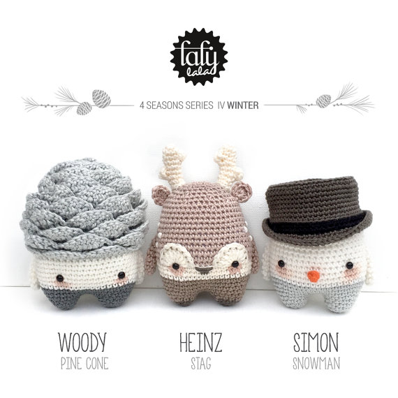 lalylala 4 SEASONS amigurumis – WINTER – (pine cone, reindeer, snowman) PDF crochet pattern by lalylala