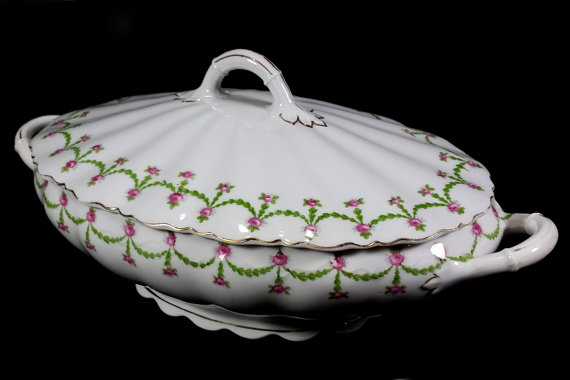 Antique Covered Casserole, White with Garlands and Pink Roses, O & EG, Royal, Made in Austria by MysticLily