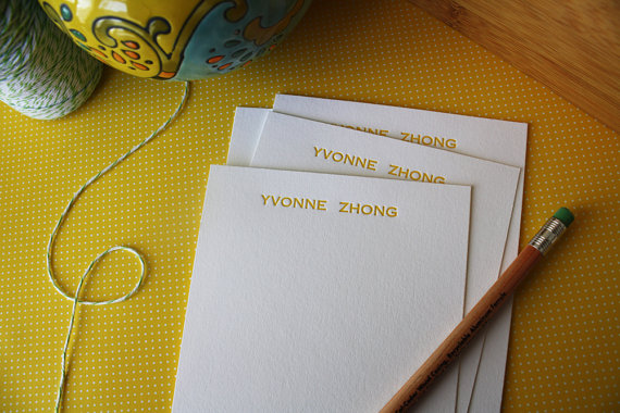 Personalized Letterpress Notecards – Personalized Stationery – Set of 50 by Honizukle