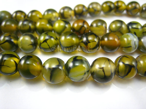 yellow dragon vein agate round bead 8mm 15-inch strand by ShinyBead