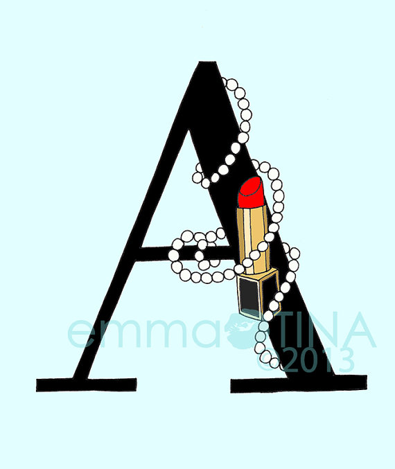 Lipsticks and Pearls Letter of your Choice Black Print by emmakisstina