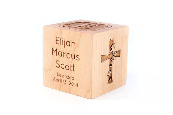 personalized BAPTISM BLOCK – a solid hardwood heirloom christening gift with name and other details, extra large with six sides engraved by SmilingTreeToys