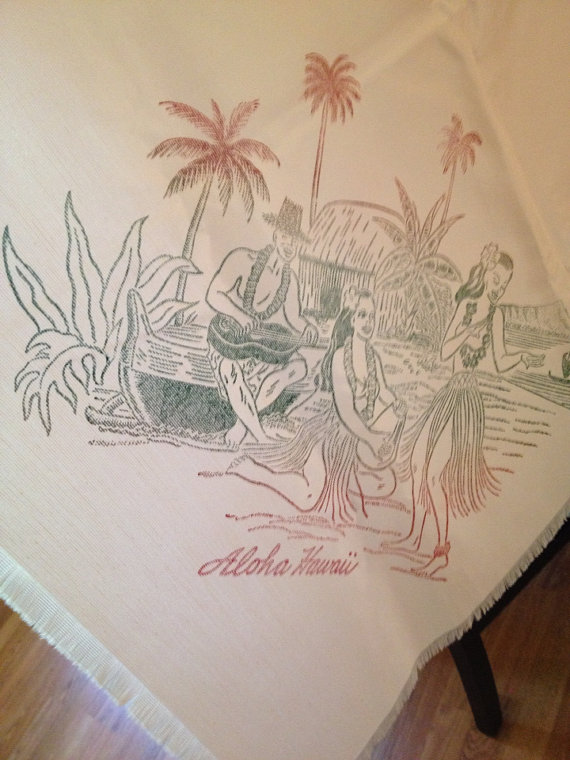 Vintage Hawaiian Tablecloth Pink and Green PLUS FOUR NAPKINS at A Vintage Revolution by avintagerevolution