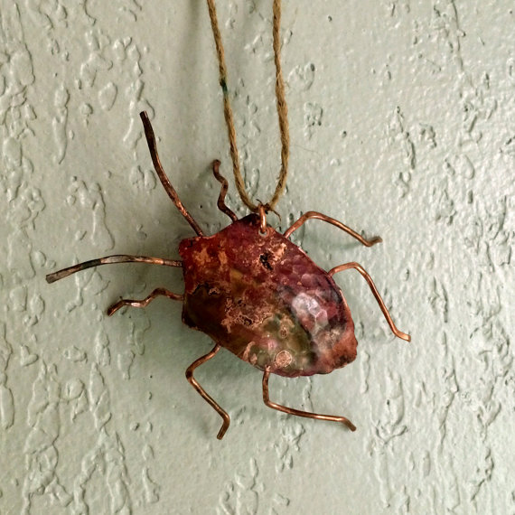 Copper Stink Bug Ornament Stinkbug by WirestormCreations