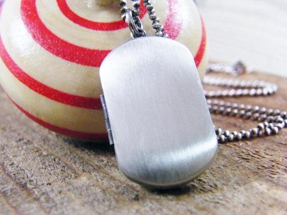 men's locket / men's photo locket / men's dog tag locket brushed sterling silver double photo locket by PureRoxInPrint
