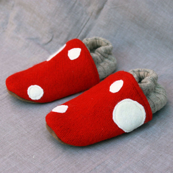 Little Mushroom Kids Slippers Leather Bottom fits 3-4 years old made from recycled materials by littlefriendsco