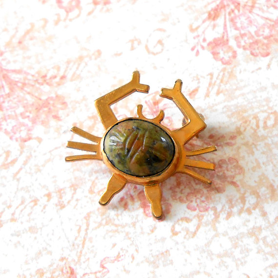 Vintage wRe Unakite Scarab Crab Brooch – Mid Century, Gold Filled Crab Pin, Egyptian Revival Scarab, Gold Scarab, Semi Precious Scarab Crab by TheLostAreFound