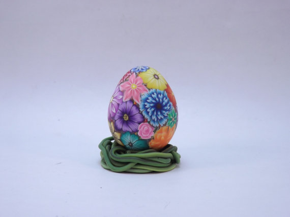 Handcrafted Colorful Millefiori Floral Polymer Clay Covered Quail Egg with Faux Grass Pedestal by PolymerClayCreations