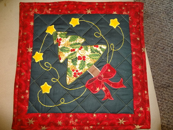 Christmas Tree Hot Pad Table Topper of 12 x 12 Decoration Quilted by PamsFabricNook