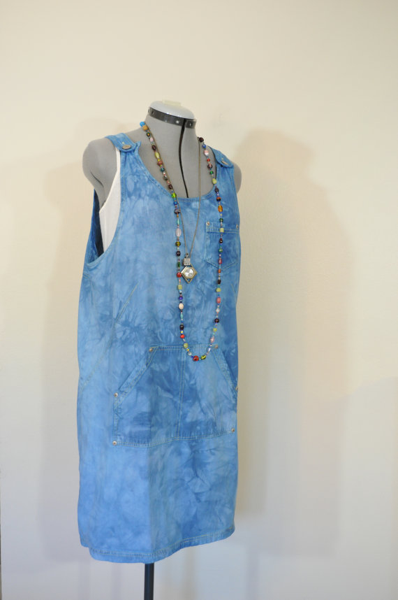 Blue Medium Denim DRESS Jumper – Royal Blue Dyed Upcycled Vintage Studio Denim Romper Dress – Adult Womens Size Medium (40 & quot; chest) by DavidsonStudio