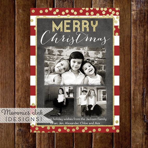 3 Photo Holiday Card, Photo Christmas Card, Faux Gold Foil Photo Card, Red and White Stripe Card, Gold Confetti Card, Chalk Christmas Card by MommiesInk