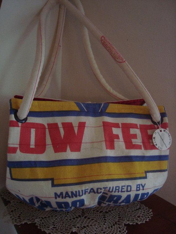 Vintage WALDO GRAIN CO. feed sack purse – Medium Carpetbag by ginnymae