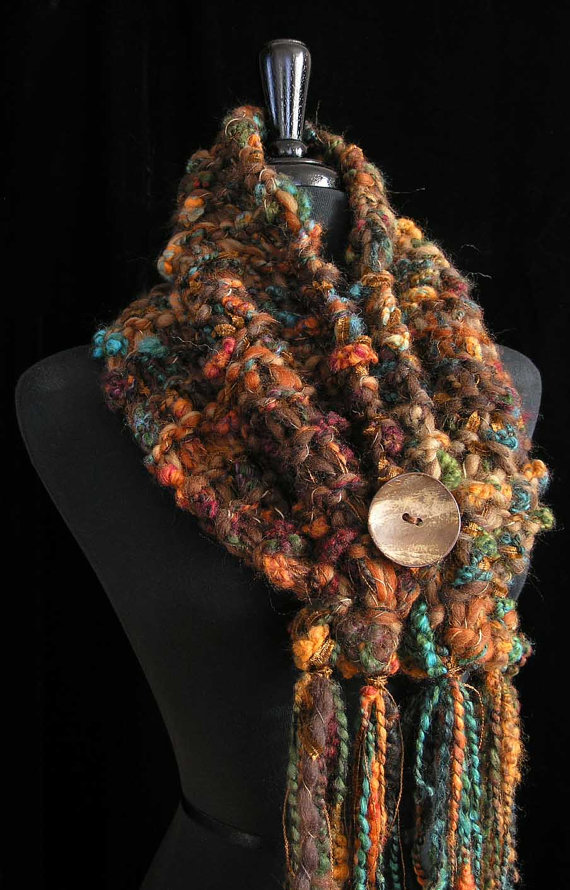 Cowl Handmade Womens Cowl Hand Knit Wool Art Scarf Chunky Textured Cowl – Tigress by FiberFusion
