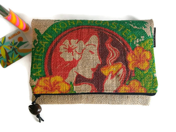 Foldover Burlap Zipper Clutch. Island Hula Girl. Repurposed Kona USA Coffee Bag. Handmade in Hawaii. by ManilaExtract