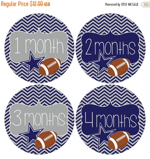 Holiday Sale Set of 12 Round Monthly Stickers Dallas Cowboys Football Photo Props Keepsakes – MOSB099 by HeadsUpGirlsBaby