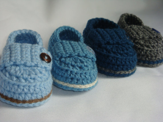 Crochet Baby Boy Button Loafers – Made to Order Booties by asimplebee