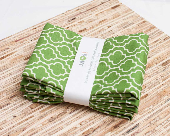 Large Cloth Napkins – Set of 4 – (N867) – Green Tile Geometric Modern Reusable Fabric Napkins by JAQSstudio