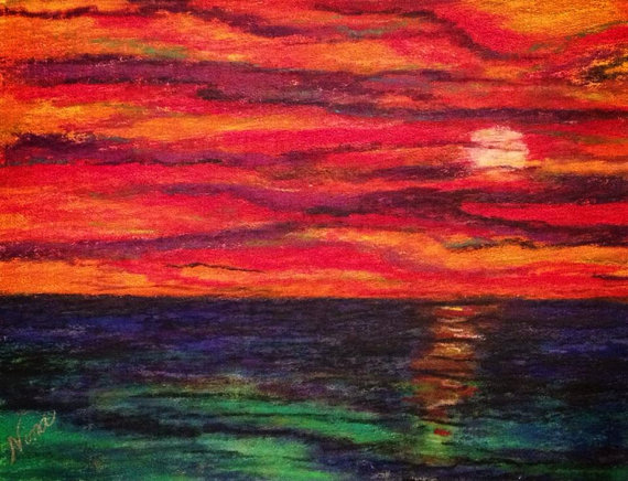 Original abstract whimsical pastel sunset sunrise canvas board acrylic 12 in. x 9 in. by ninaswindow