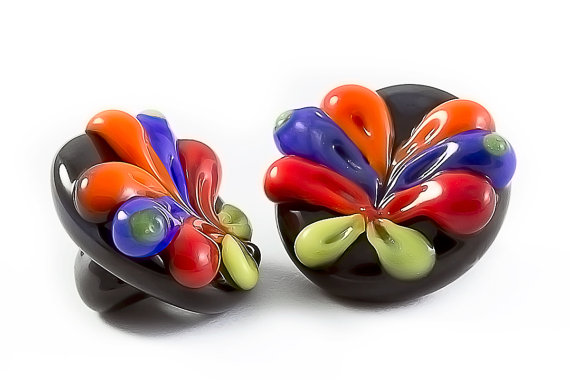 Glass shank button colorful butterfly set of two by Cofanetto