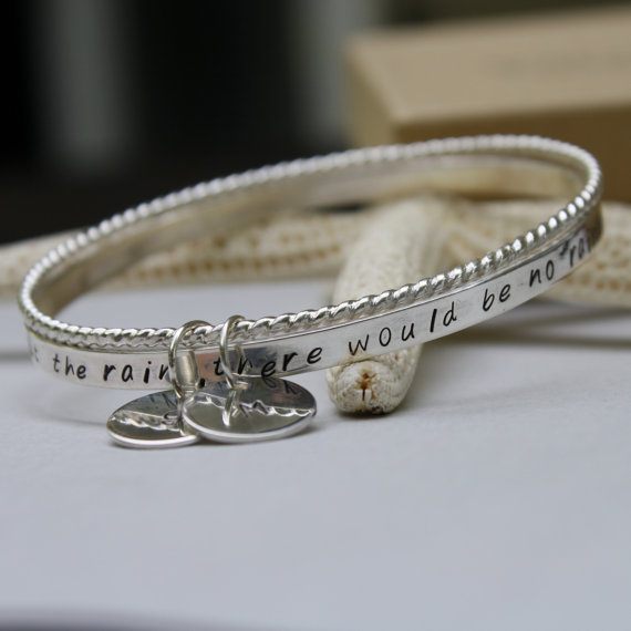 Personalized Bangle, Sterling Silver Bangle, Hand Stamped Bangle by LoreleyJewelry