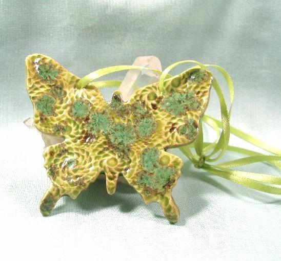 Handmade Ceramic Butterfly Ornament by MostlyArt
