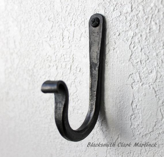 Single Wall hook, black metal hook, blacksmith hook, wall hook for your coat, coat rack, rustic hook, iron hook, decorative hook by toughandtwisted