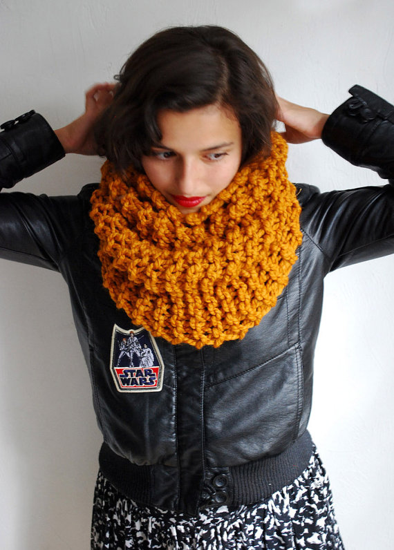 The Manhattan Cowl Hand Knit in Mustard Wool Blend by RememberADay