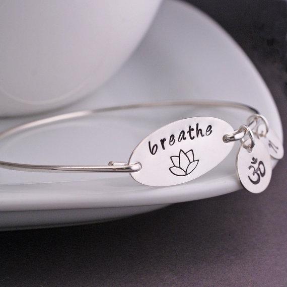 Yoga Jewelry, Breathe Bangle Bracelet, Lotus Jewelry Gift, Yoga Teacher Gift, Yoga Lover Gift by georgiedesigns