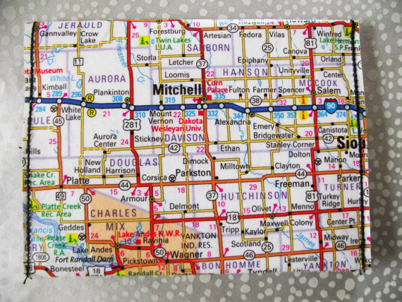 Map of Mitchell South Dakota wallet, card holder, map wallet, paper wallet by DumbKidDesigns