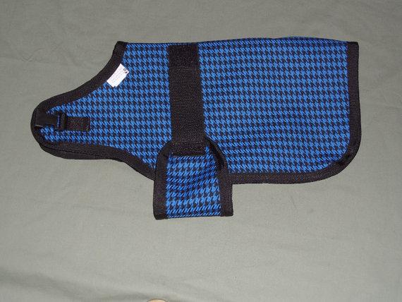 "20"" Blue Houndstooth Winter Water-Resistant Goat Coat | Sheep Jacket | Nigerian Pygmy Blanket | Doe Buck Ewe Farm Supplies by custompetandtack"